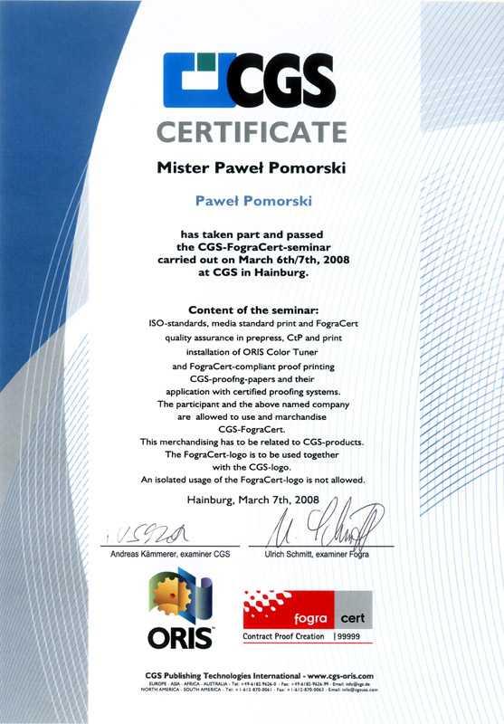 certyfikat matchprint